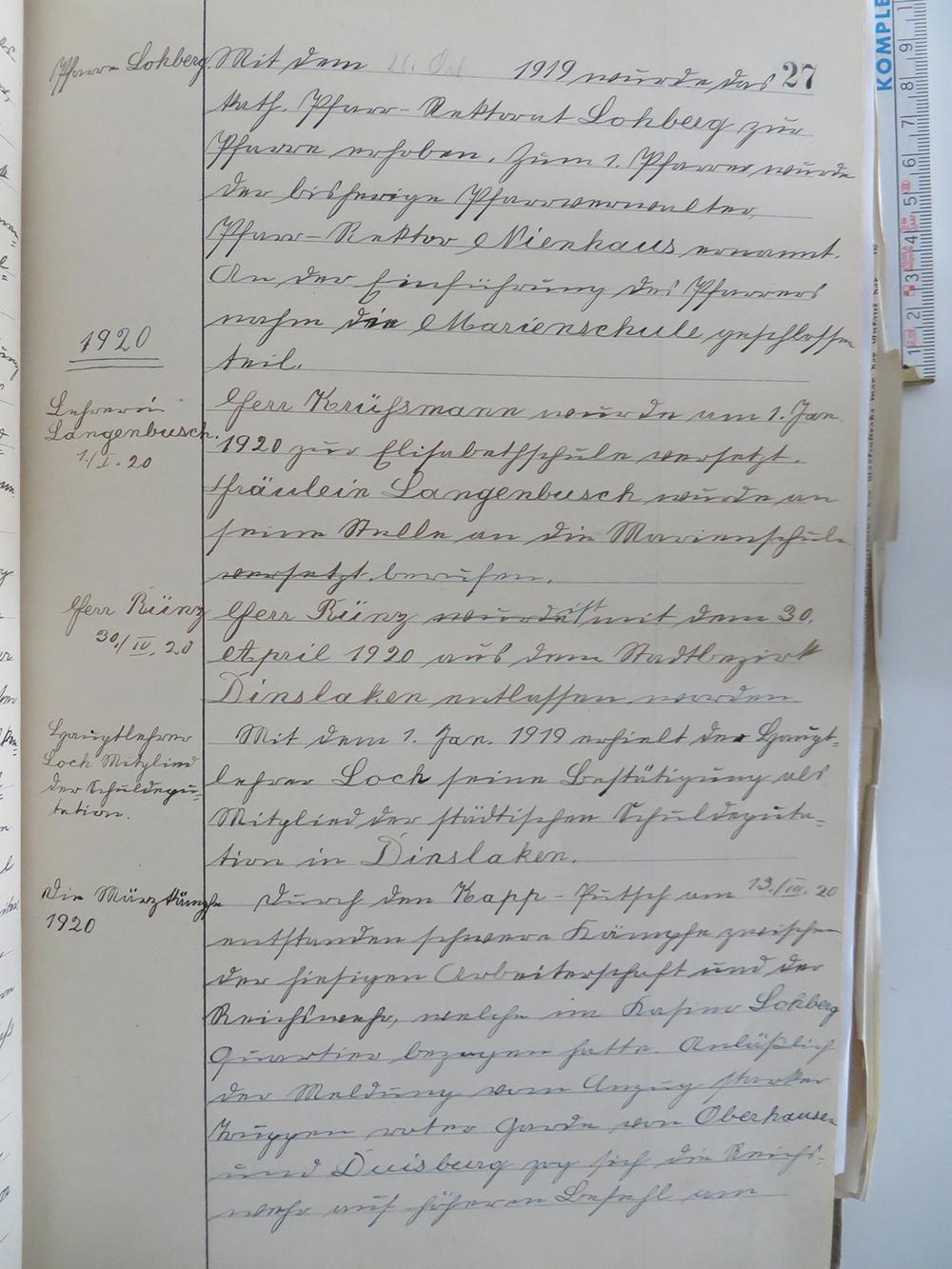 Schulchronik der Marienschule Lohberg 1916-1939, II. Band, Seite 27ff