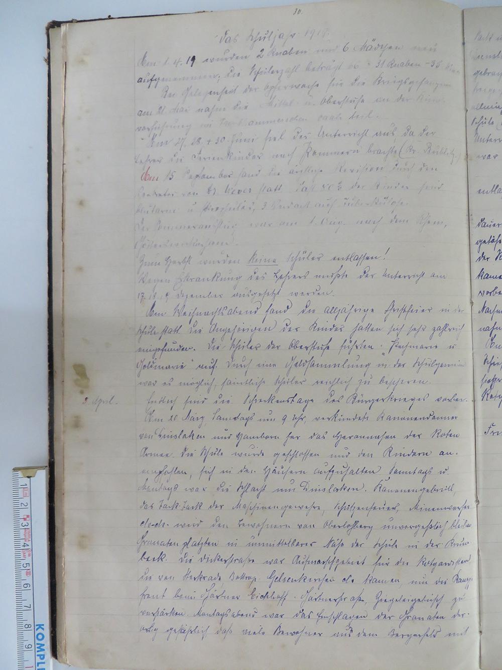 Aus: Die Chronik der evangelischen Schule zu Oberlohberg II. Teil. StA Dinslaken. S 10, S. 30f
