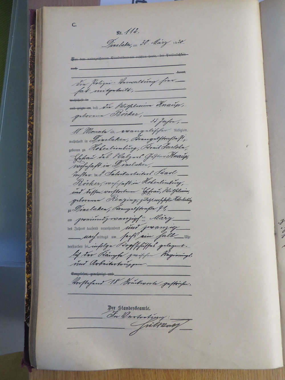112.30.03.20. Wilhelmine Knaup, geb. Böcker in Hohenlimburg/Iserlohn (33)