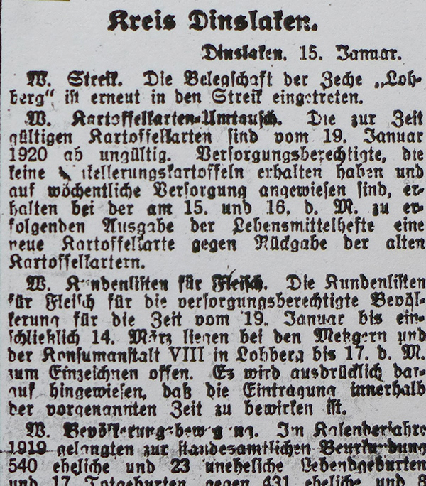 Dinslaken, 15. Januar 1920