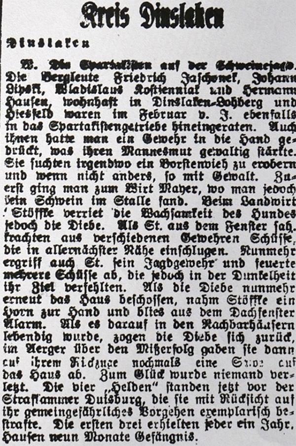 HVZ, <b>Kreis Dinslaken</b>, 5. Februar 1920.
