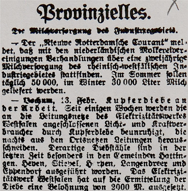 HVZ, Provinzielles, 20. Februar 1920