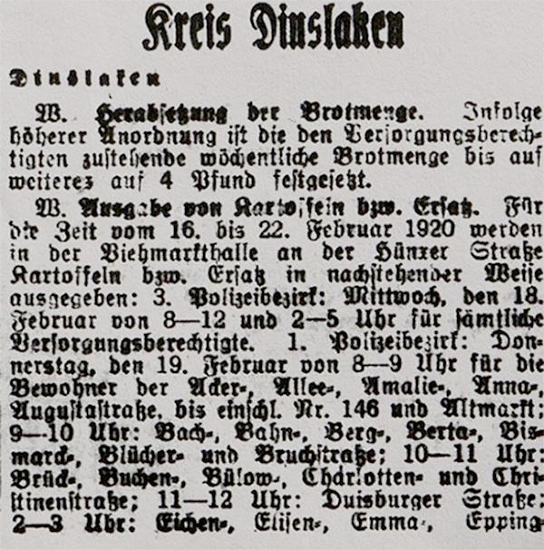 HVZ, Kreis Dinslaken, 17. Februar 1920