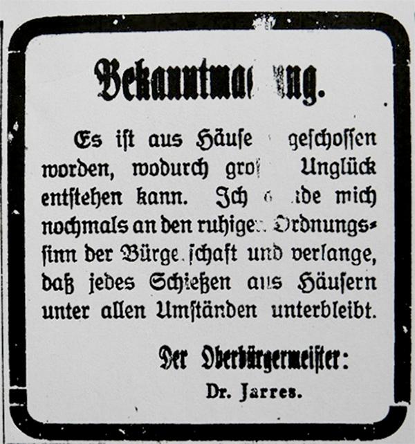 HVZ, Duisburg, 17. März 1920.