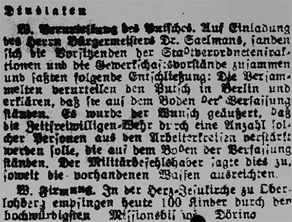 HVZ, <b>Dinslaken</b>, 17. März 1920