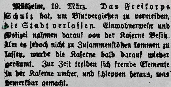 HVZ, <b>Mülheim/Ruhr</b>, 19. März