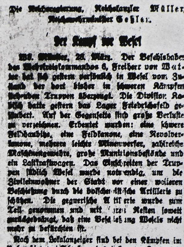 HVZ, Münster/ Wesel, 28. März 1920