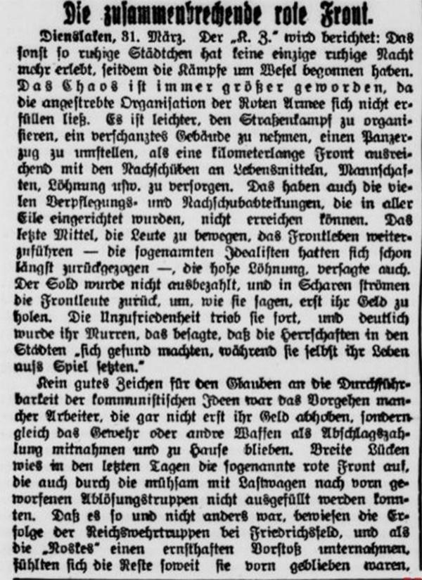 Niederrheinisches Tageblatt Kempener Volkszeitung, Kempener Zeitung, Kempener Volksblatt - 1.4.1920
