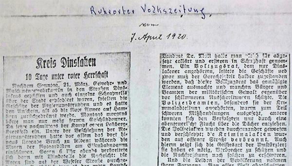 Ruhrorter Volkszeitung, 7. April 1920